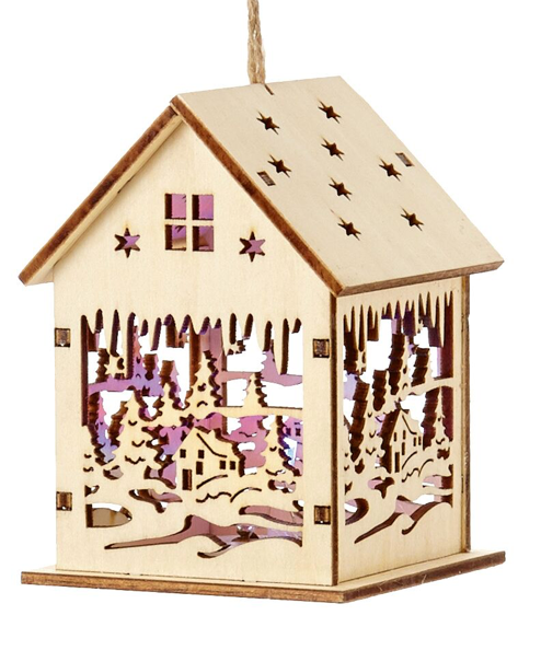 Wooden house Bauble, Christmas Gifts, battery operated, colour changing