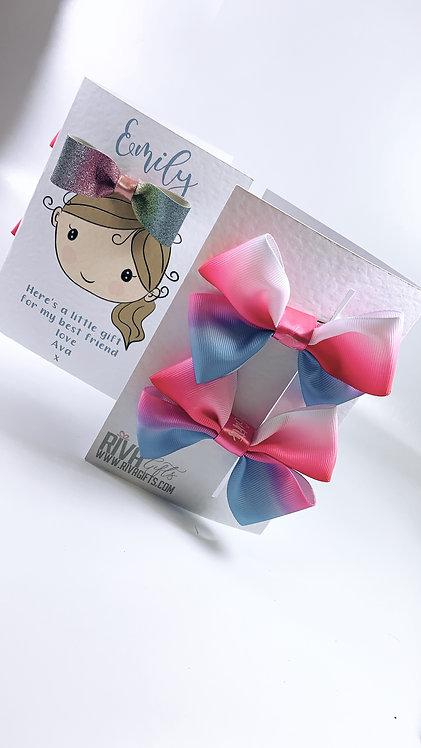 Cartoon Card, Hair Bow Set, Personalised