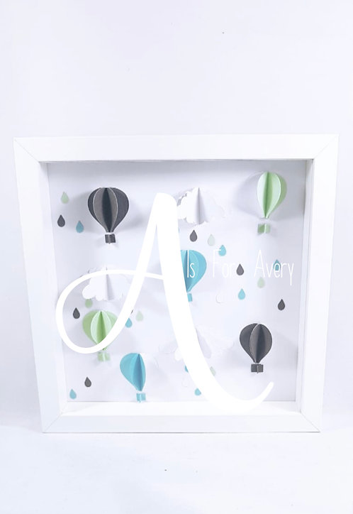 Hot Air Balloon, Personalised Frame, Nursery Decor, 25cm Frame