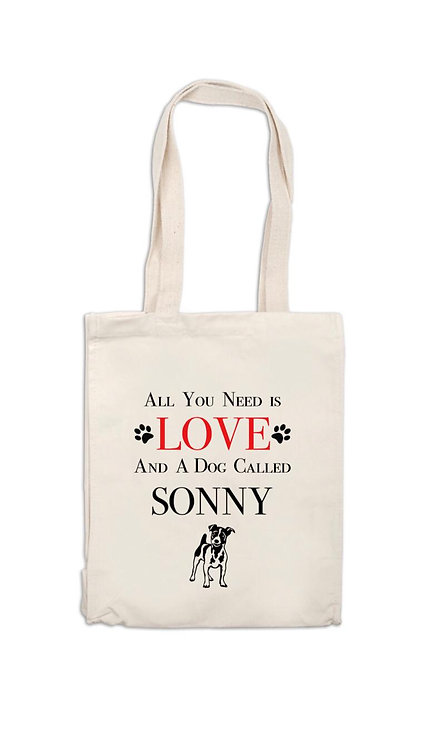 All you need is love and your dog canvas bag, personalised pet owner gift, pert gift, doggy lover gift, riva gifts