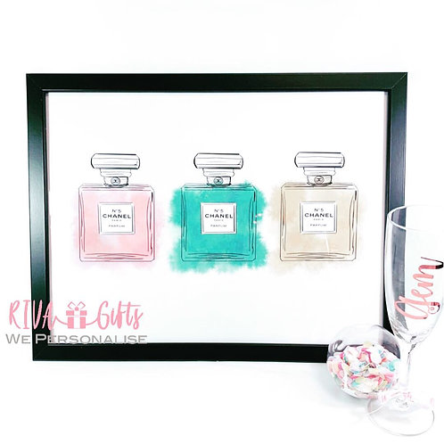 Perfume Watercolour Print and Frame, A4, 21x30cm Single