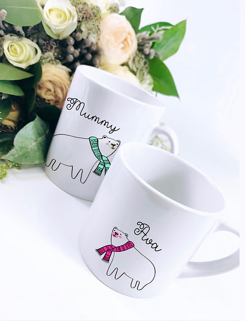 Polar Bear Mug Set, Adult and Child Size Mug