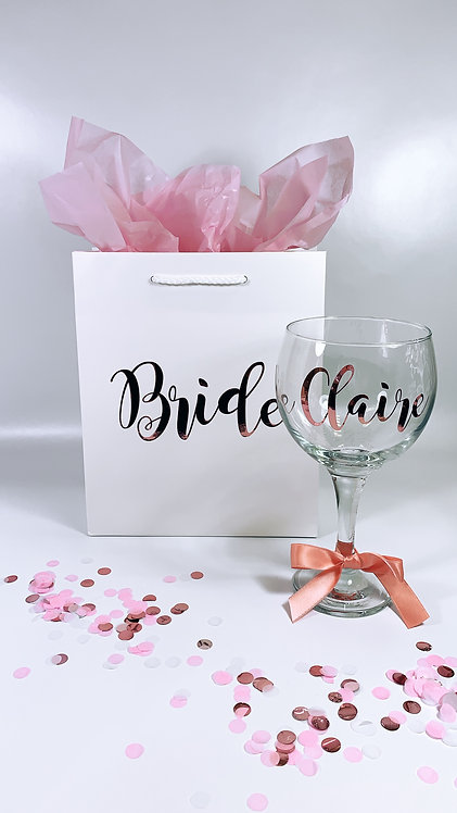 Personalised Gift Bag and Glass Set, personalised from Riva gifts Weston super mare