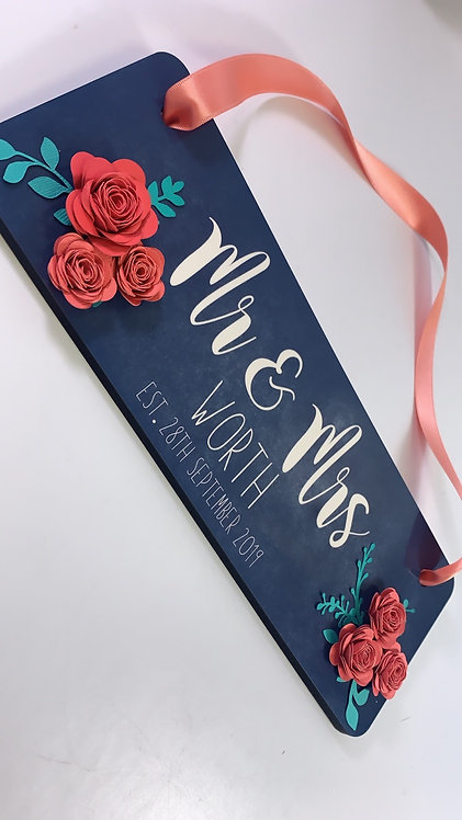 Personalised Wooden Sign, Printed, With Flowers and Gift Bag