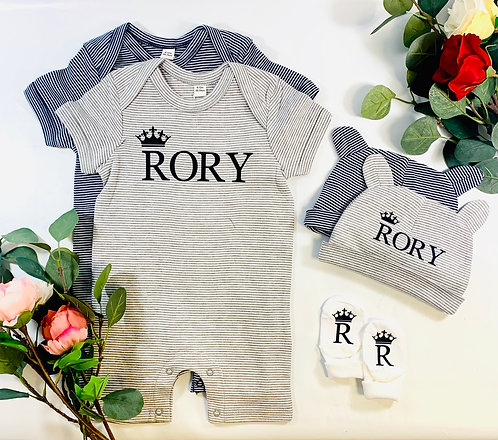 Personalised Striped Baby Playsuit,New Baby Gift