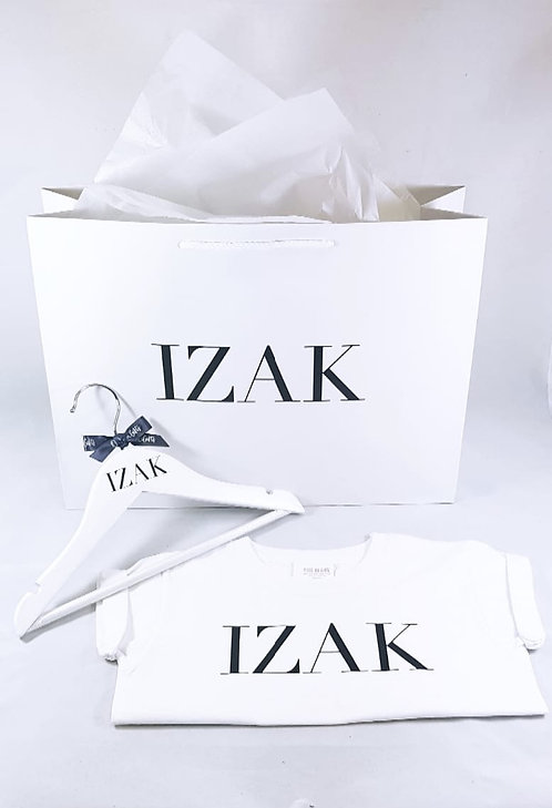 Personalised Name Hanger & T-shirt with matching gift bag, riva gifts