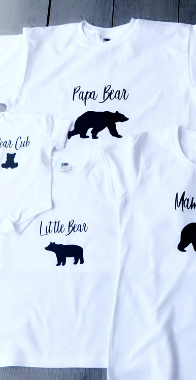 Bear Family t-shirts, Personalised, round neck, baby vest, for the whole family