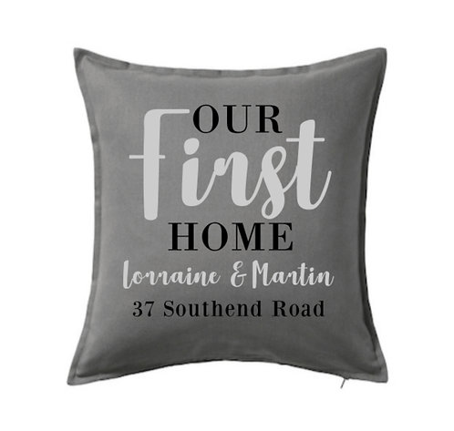 first home personalised cushion, riva, riva gifts