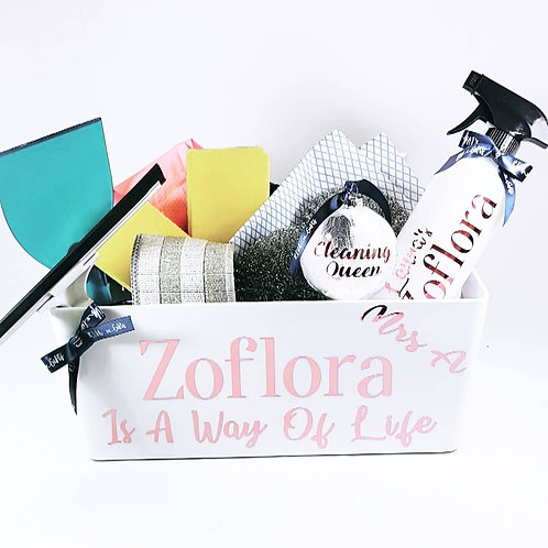 Zoflora Cleaning Hamper, Filled Personalised Gift, cleaning hamper, gifts for people who love cleaning, Riva gifts
