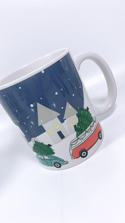 Christmas Scene Mug with Classic Cars