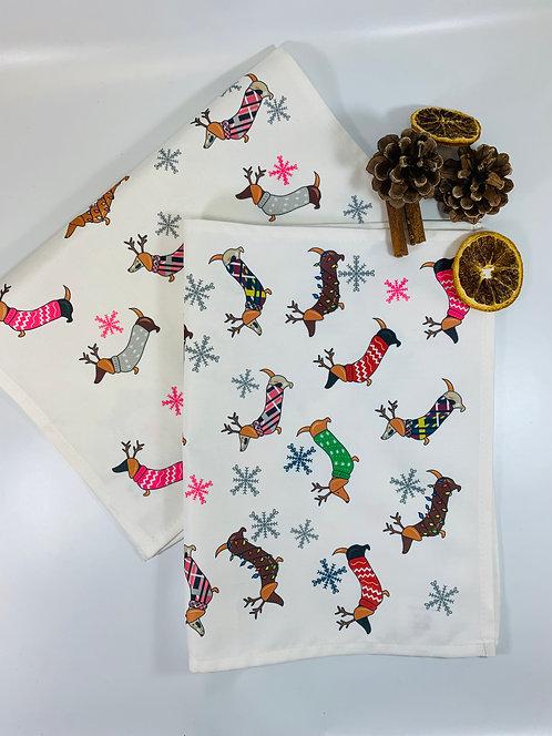 Dachshund Christmas Tea Towel