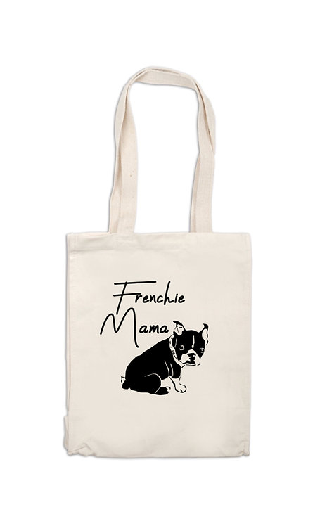 Frenchie Mama Canvas Bag, dog owner gift, personalised, riva gifts