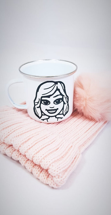 Cartoon caricature on a mug, with hat, rivagifts