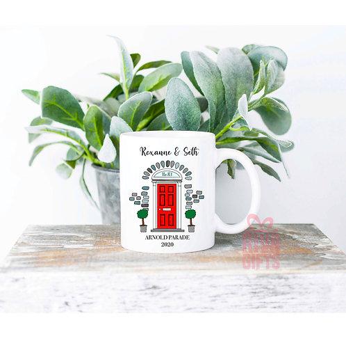 Personalised Front Door Mug , Personalised New Home