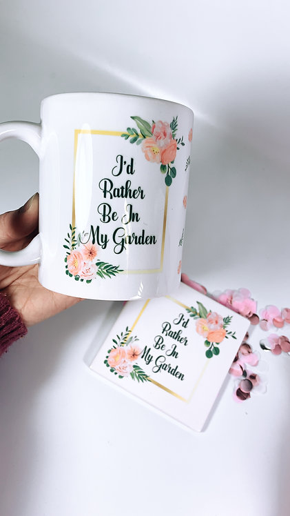 Flower Coaster and Mug Personalised