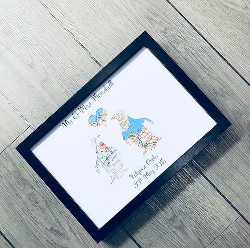Penguin Love Frame A4