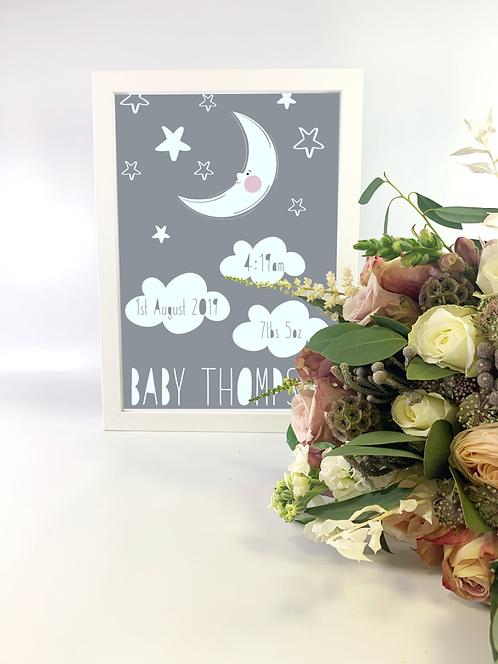 New Baby Star and Moon Print A4, Nursery Decor