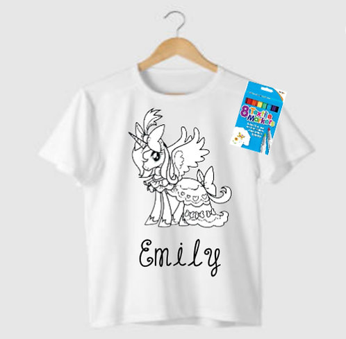 Kids Colour Your Own Personalised T-Shirt, Riva Gifts, unicornpersonalised gifts Weston super mare