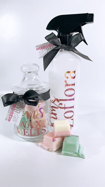Wax Melt Jar Gift and Spray Bottle, Personalised