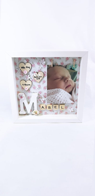 New Baby Frame, Baby Announcement, 25cm, Personalised