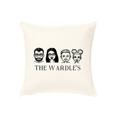 Cartoon Cushion Cover with Pets, Family