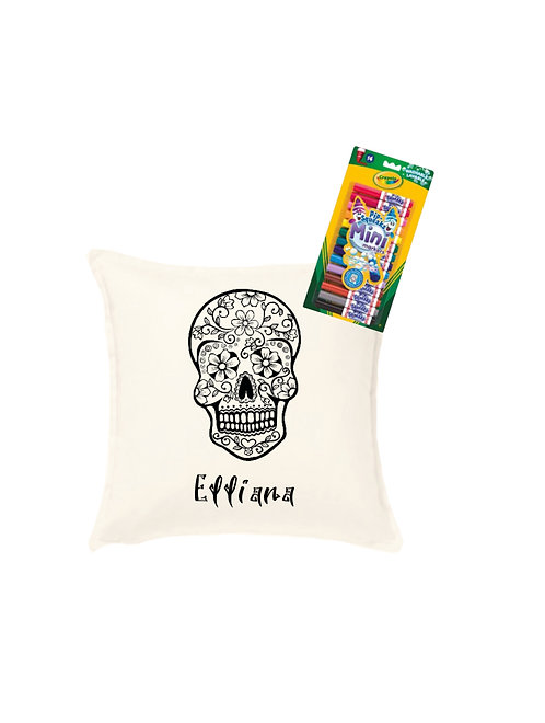 day of the dead cushion, personalise your own cushion, fabric pens, riva gifts