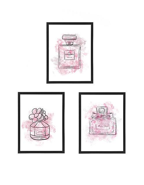 Perfume Watercolour Print, 30x40cm 3 Pack