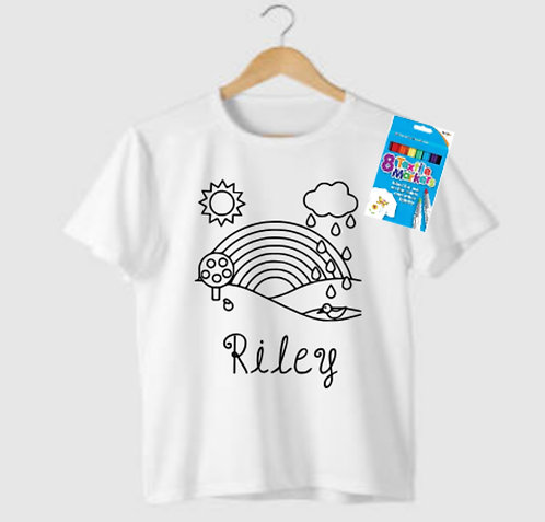 Kids Colour Your Own Personalised T-Shirt, Riva Gifts, personalised gifts Weston super mare