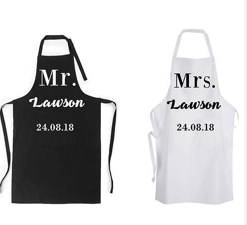 Mr and Mrs Apron Personalised