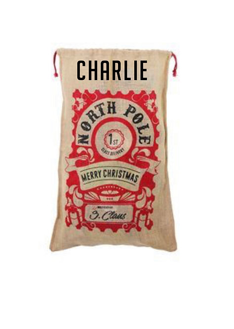 Personalised Christmas santa sack, canvas, present carrier