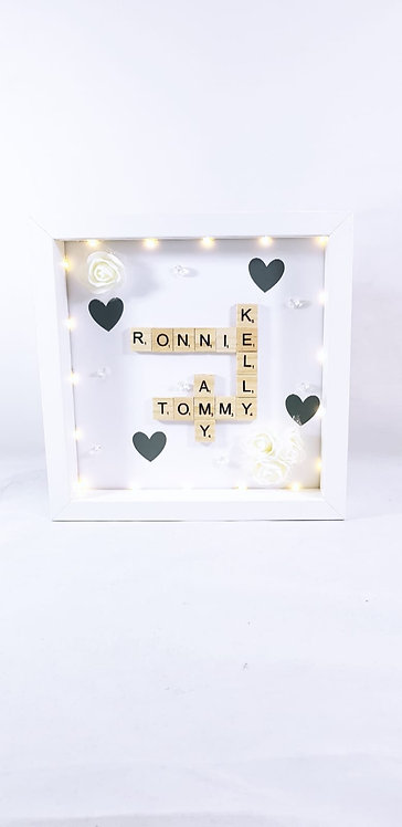 Scrabble Family Frame with Lights