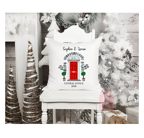 Personalised Front Door Cushion Cover , Personalised New Home