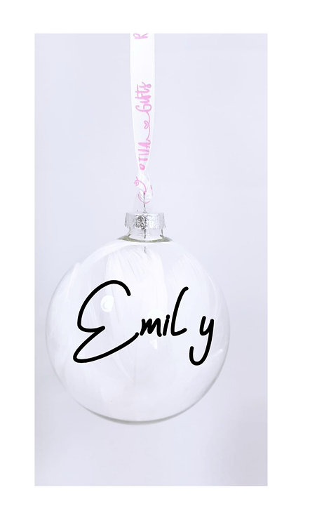 Emily, Personalised Bauble With Name, Christmas Gifts Weston super mare, rivagifts