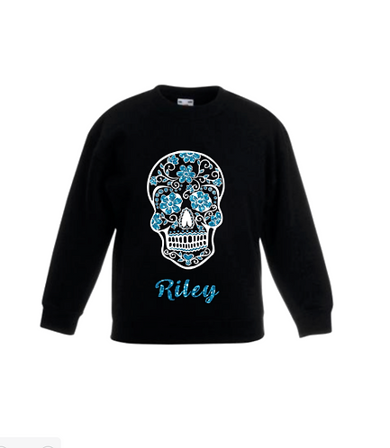 Day of The Dead, Skull, Personalised, Kids and Adult Blue Glitter Jumper, RIVAGIFTS