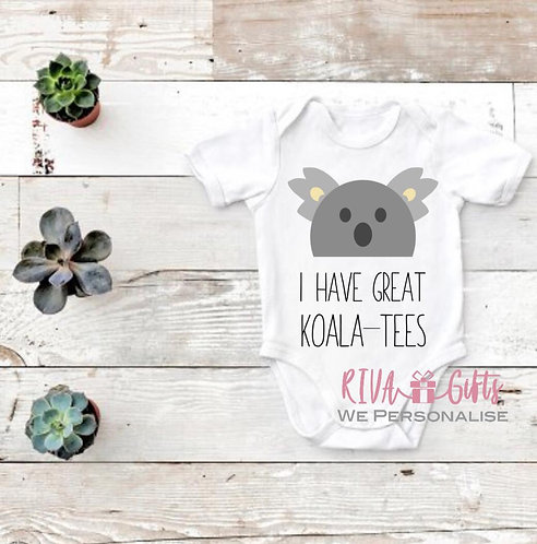 Koala-tee, new baby, Short Sleeve Personalised Baby Vest, baby grow
