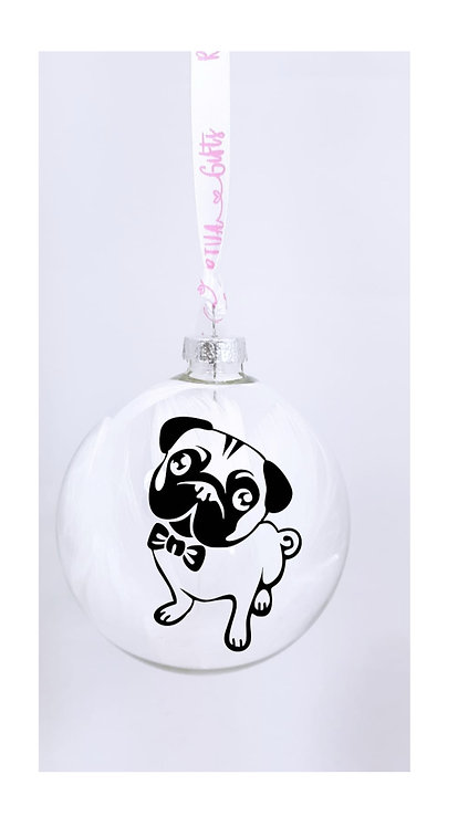 Pug Personalised Bauble, Pet Owner Gifts, Gifts near me, riva gifts