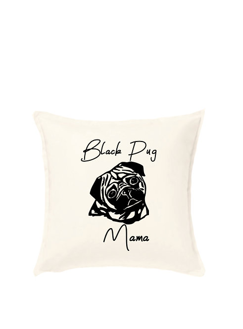 Black Pug Cushion, Personalised Pet Owner Gift, riva gifts