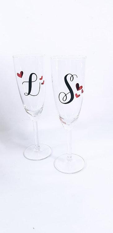 Set Of 2 love Flute Glasses - Personalised glasses