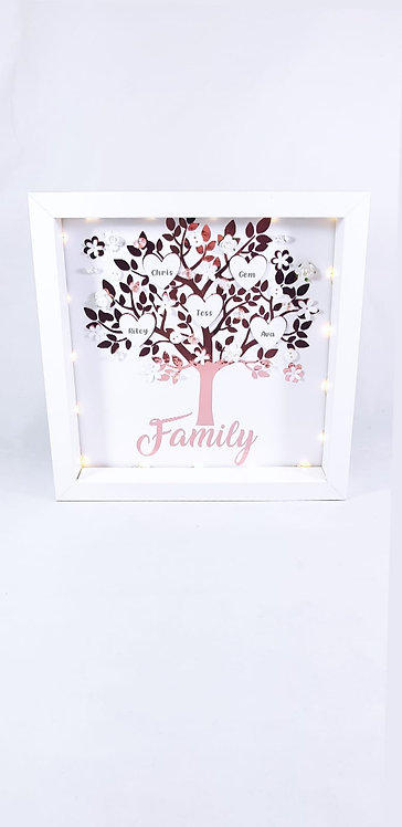 Family Tree Frame, Personalised 25cm With LED Lights