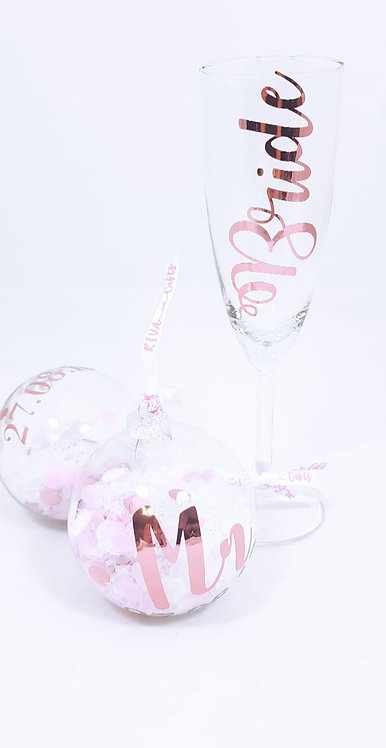 Flute Glass and Confetti Glass Bauble x 2 Set ,  Personalised