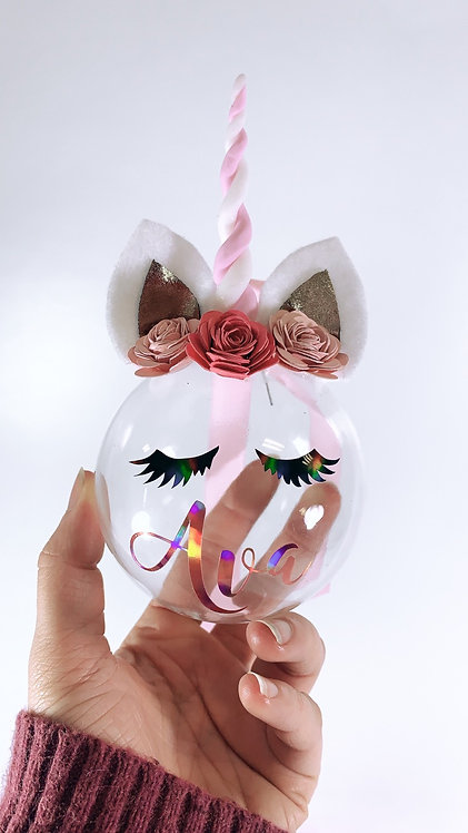 Unicorn Glass Bauble 8cm, Personalised