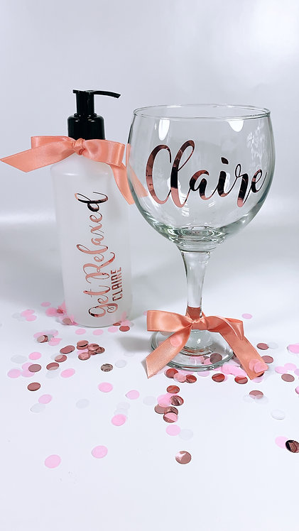 Gin Glass, Large Wine Glass and Bottle - Personalised, Glass