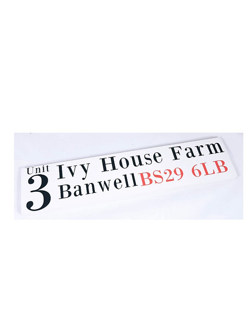 Wooden Number House Sign, plaque, personalised sign