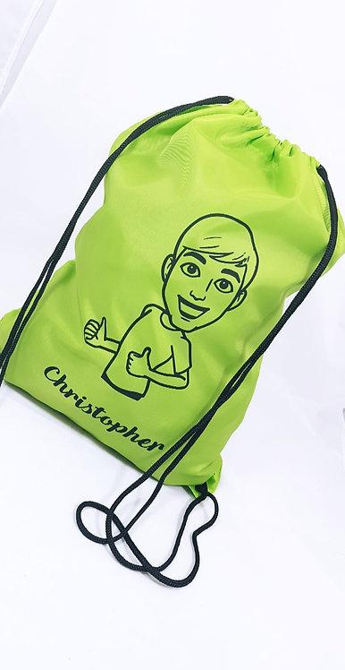 Cartoon Drawstring Bag, Personalised, gym sack