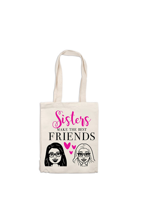 Sister Cartoon Tote Bag, Canvas Bag