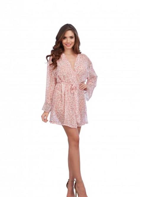 Too's Company - Pink Leopard Print Chiffon Robe