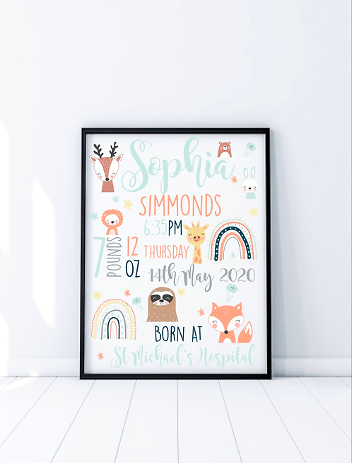 New Baby Memory Nursery Print, Animal Theme