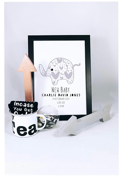 New Baby personalised Elephant Print A4, Nursery Decor from RIVA Gifts Weston super mare