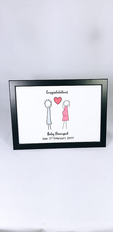 New Baby Stick Man, Personalised Family Print, pregnant stick woman frame, personalised illustrations, riva gifts