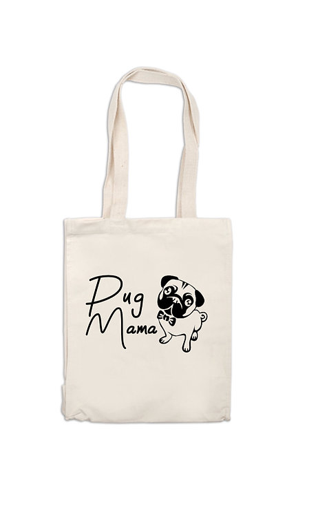 pug Mama Canvas Bag, dog owner gift, personalised pet owner gifts